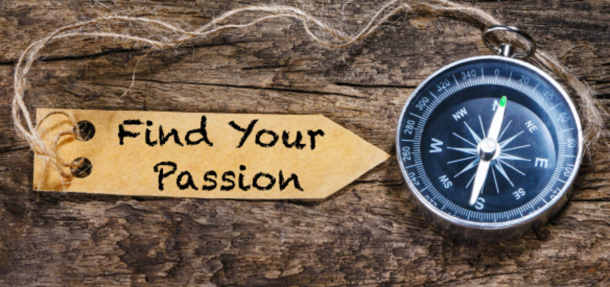 Find your passion sign pointing to compass