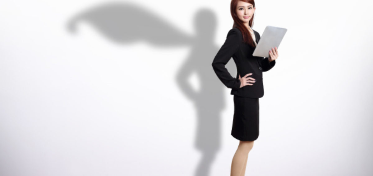 professional woman shadow wearing a cape